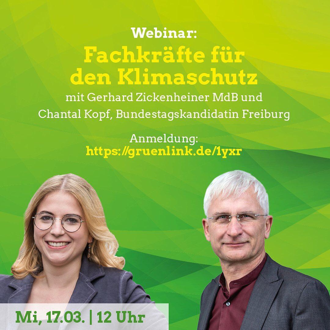 """""""Fachkräfte für den Klimaschutz"""" – Webinar mit Gerhard Zickenheiner MdB"""